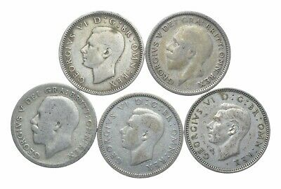 SILVER 1920s & 1940s Great Britain British 6 Pence World Coin Collection *094