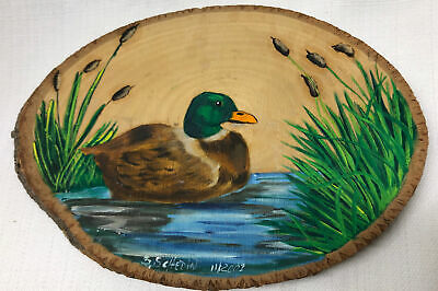 Mallard Duck Hand painted Wood Slice Cabin Lake Rustic Wall Plaque Signed Art