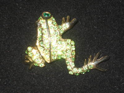 Vintage Leaping Frog Pin with Green Crystals