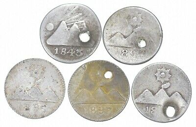 Lot of 5 GUATEMALA 1/4 REAL 1843 1896 1896 1896 Worn Date SILVER *730