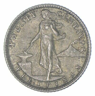 Roughly Size of Quarter 1944 Philippines 20 Centavos World Silver Coin *241