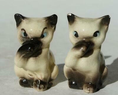 Siamese Cat-Kitten Figurines Lot of 2 Bone China Hand Painted Paws Over Mouth
