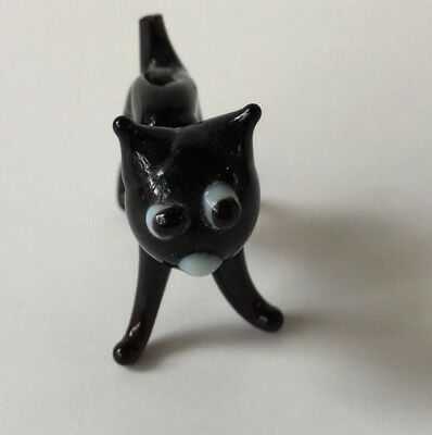 Glass Figurine Animal Small Skinny Black CAT (UNKNOWN  MAKER) MAYBE Murano