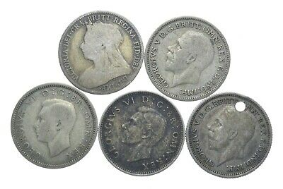SILVER 1920s & 1940s Great Britain British 6 Pence World Coin Collection *091