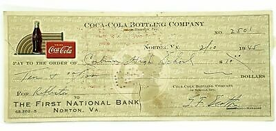 Coca-Cola Bottling Company Norton VA Cancelled Check Dated Feb 10 1945 2501