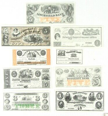 Northern States Paper Money Facsimile Contains 9 Assorted Bills Various States B