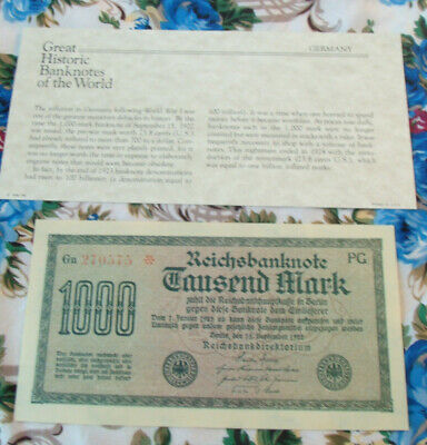 Great Historic Banknotes Germany 1922 1000 Marks  UNC Prefix Gn270575 Star note