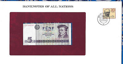 Banknotes of All Nations GDR East Germany 1975 5 Mark UNC P 27a IH366941