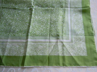 """vintage silk scarf, beautiful green pattern, hand finished sewn edges, 20 x 20"""""""