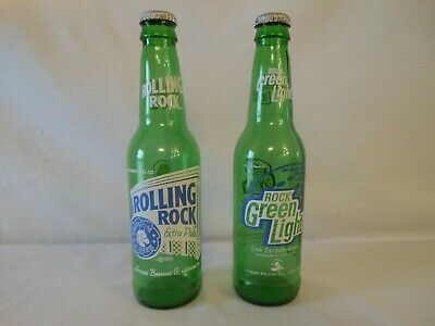 Collectible Rolling Rock/Rock Green Light Bottles, Latrobe, PA, Empty w/Caps