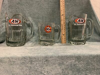 "Vintage 2 A&W ""All American Food"" Rootbeer Mug Float Glass, 1 A&W Small Mug"