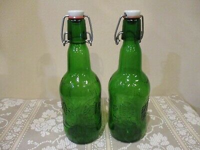 Vtg Holland Grolsch Florida Embossed Green Hinged Jars (2pcs)