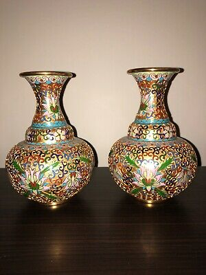 Pair Of Decorative Chinese Cloisonné Vases Gold Ornate Pattern