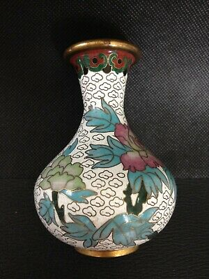 "Chinese Cloisonne Vase, 4"" High, Floral Design on White Background"