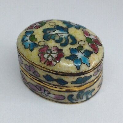 Chinese Cloisonne Pill Box, Oval, 3.5cm Wide, Floral Design