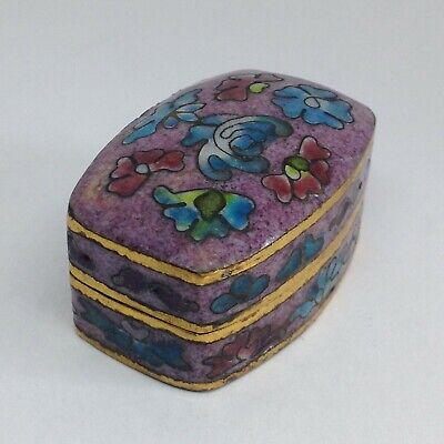 Chinese Cloisonne Pill Box, 3.5cm Wide, Floral Design