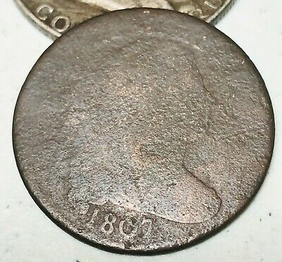 1807 Draped Bust Large Cent 1C Worn Date Ungraded Early US Copper Coin CC5884