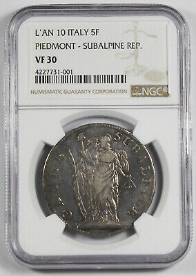 ITALY Piedmont Subalpine L'an 10 1801 5 Francs Silver Coin Turin NGC VF30 KM-C4