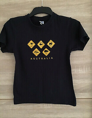 Australian Animals Fun T Shirt Navy And Mustard Age 10 - 12