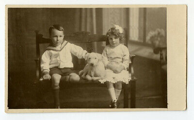 c 1920 Young Children KIDS w/ THEIR DOG Poodle ? Privately Issued photo postcard