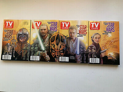 X4 Star Wars U.S. TV Guide Darth Maul Anakin Padme Jedi 1999 Phantom Luke Jedi