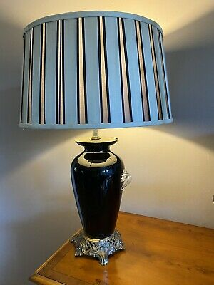 Antique Table Lamps Pair Glass Metal