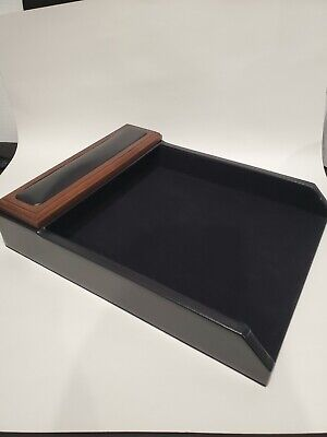 Open Box - Walnut and Leather Front Load Letter Tray - Dacasso