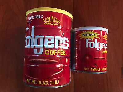 Two Vintage Folger's Coffee Tins-16 and 6 Ozs.