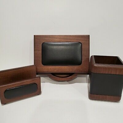 Open Box - Walnut and Leather Memo Holder / Business Card / Pencil Cup - Dacasso
