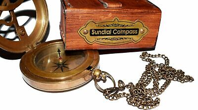 Marine Brass Sundial Compass Leather case Push Open Compass New year gift