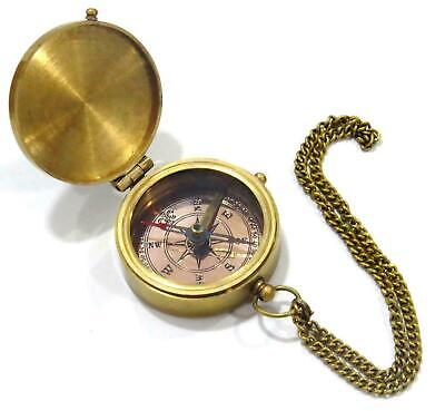 """Go Confidently Poem"" Solid Brass Compass With Leather Case Beautiful gift"