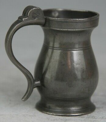 FINE SCOTTISH ANTIQUE PEWTER ½ GILL ABERDEEN LIDLESS TANKARD MUG MEASURE c1840