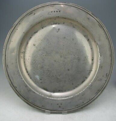 FINE ANTIQUE PEWTER 20 1/8 INCHES TRIPLE REED CHARGER PLATE DISH c1690