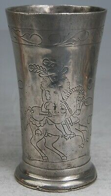 FINE ANTIQUE DUTCH PEWTER BEAKER WRIGGLEWORK PRINCE/KING WILLIAM OF ORANGE c1700