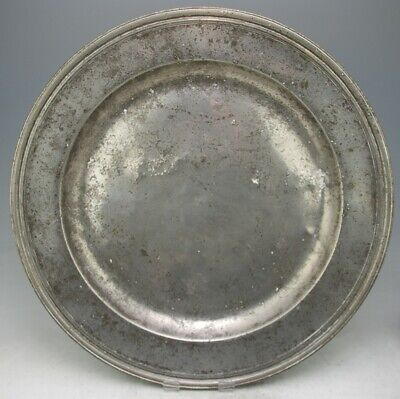 FINE ANTIQUE STUART PEWTER 20 3/8 INCHES CHARGER BOWL DISH c1690