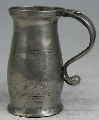 Rare & Fine Georgian Antique Wigan Pewter ½ Pint Baluster Measure Tankard C18Th