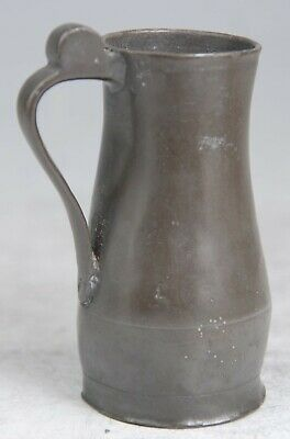 SCARCE ANTIQUE GEORGIAN JERSEY PEWTER NOGGIN TANKARD MUG MEASURE c1800