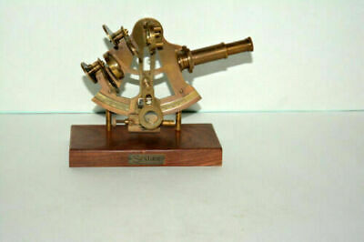 "Antique vintage style brass 4"" sextant wooden base nautical astrolabe instrument"