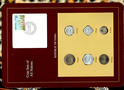 Coin Sets of All Nations India UNC 1985-1988 Rupee 1986 50,25,10 paise 1988