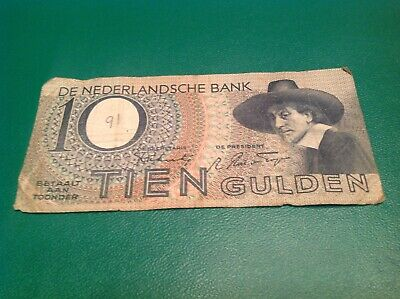10 Netherlands Gulden banknote dated 1943