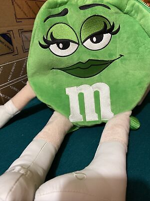 """M&M Green Backpack Plush 2008 11"""" Round Zip Closure 18"""" Long - Never Used"""