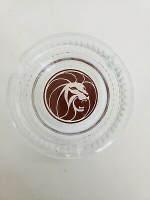 Vintage MGM Grand Hotel Ashtray Red Lion Head Logo Clear Glass Round  Ash Tray