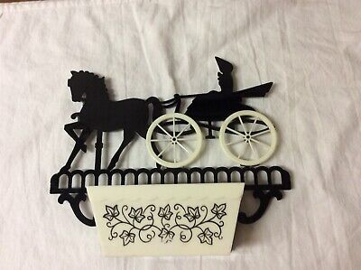 Vintage Plastic Horse And Buggy Wall Hanger For Keys Etc.