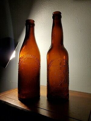 2 Antique GBS Amber Beer Bottles Baltimore MD Geo Bauernschmidt Strauss Crown