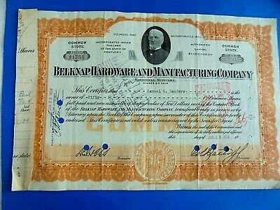 Vintage 1934 Belknap Hardware and Manufacturing Company Stock Certificate