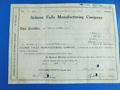 Vintage 1926 Salmon Falls Manufacturing Company 15 Shares Stock Certificate