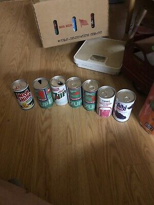 7 Vintage Soda Cans 4 Seven Up, Nehi Grape,cana And Moon Shine Sippin Citrus