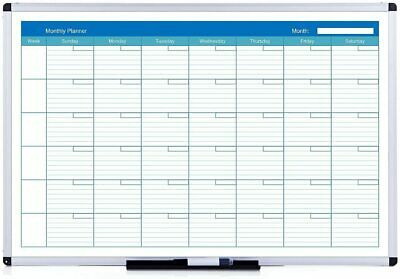 VIZ-PRO Magnetic Dry Erase Monthly Planner 48 X 36 Inches Silver Aluminium Frame