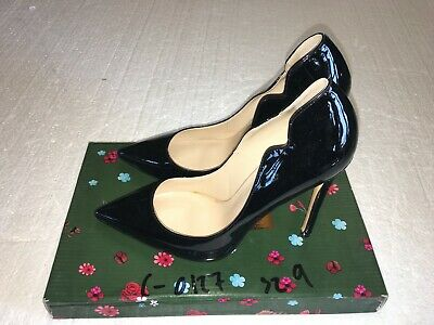 Women Thick Chunky Block High Heels Pointed Toe Dress Shoes Black Patent OGDEN-S