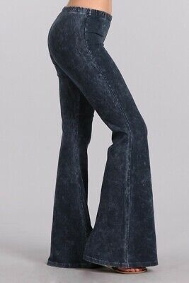 Chatoyant Mineral Wash Bell Bottoms  Taupe Gray Small